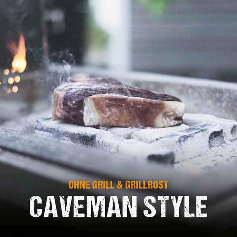 Ohne Grill oder Grillrost: Steak grillen im Caveman Style