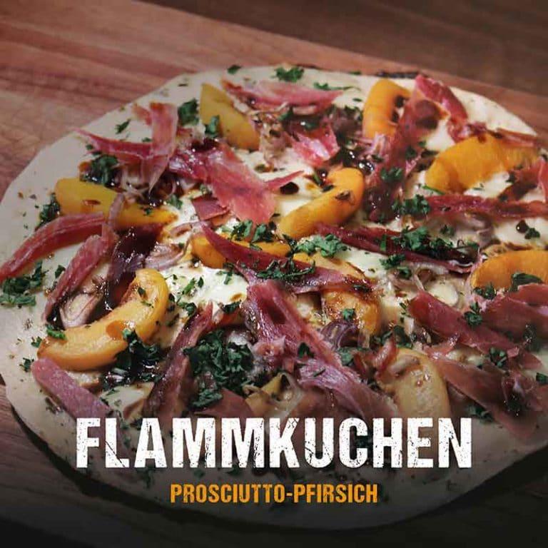 Grillrezept: Flammkuchen mit Prosciutto und Pfirsich