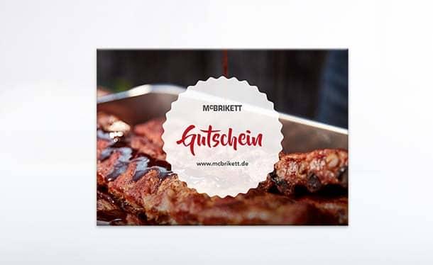 Gutschein von McBrikett für Grillkohle und Grillzubehör sowie FUSL