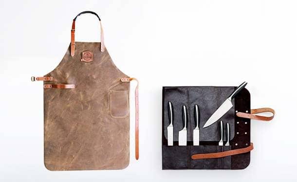 Lederschürze, Grillschürze und Messertasche von McBrikett