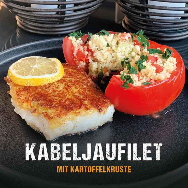 Grillrezept: Kabeljaufilet mir Kartoffelkruste