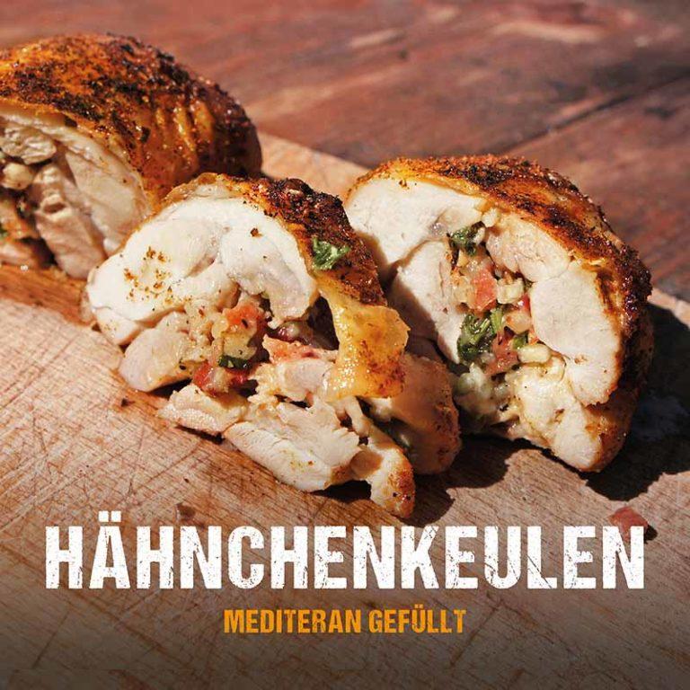 Grillrezept: Hähnchenkeulen mediterran gefüllt vom Grill