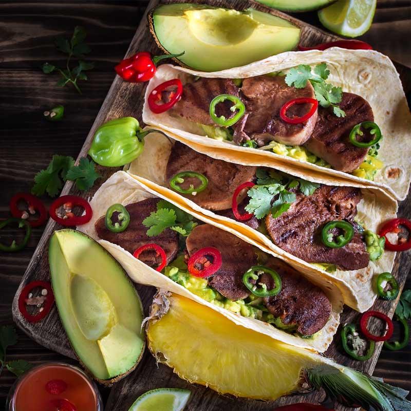 Tacos mit gegrillter Rinderzunge