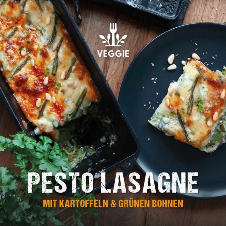 Dutch Oven Rezept: vegetarische Pesto-Lasagne mit Kartoffeln und grünen Bohnen