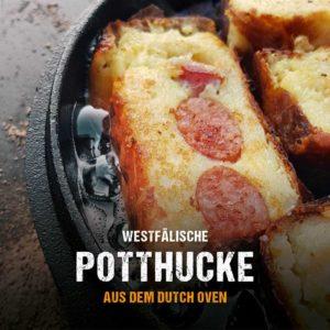 Potthucke aus dem Dutch Oven - Kartoffelkuchen mit Mettwurst