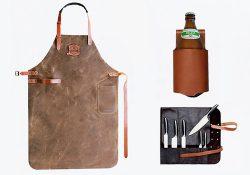 Grillzubehör aus Leder: Grillschürzen, Flaschenholster und Messertaschen bei McBrikett